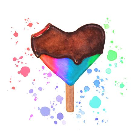 Watercolor lgbtq style ice cream. Bitten heart shaped chocolate icecream with colorful splashes isolated on white background. Watercolour hand drawn illustration.
