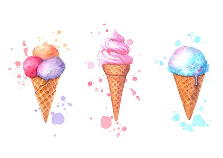 Set of watercolor ice cream in waffle cone with splashes isolated on white background. Watercolour summer hand drawn food, sweet, dessert, delicious illustration. 写真素材