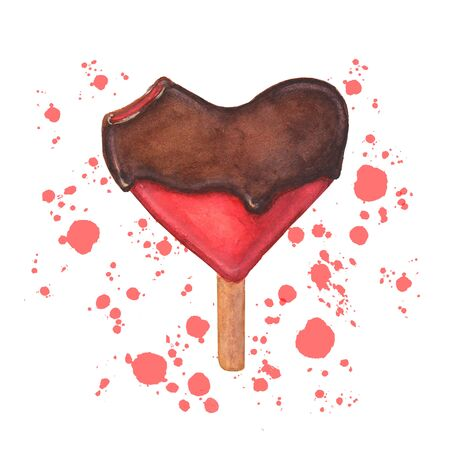 Watercolor ice cream. Bitten heart shaped chocolate red icecream with color splashes isolated on white background. Watercolour hand drawn illustration.