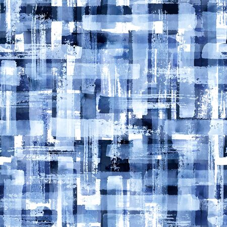 Abstract grunge cross geometric shapes contemporary art blue color seamless pattern background. Watercolor hand drawn colorful brush strokes texture. Watercolour print for textile, wallpaper, wrapping