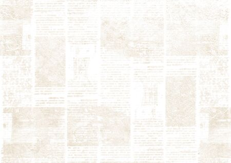 Old newspaper paper grunge texture background. Blurred vintage newspapers textured backdrop. Blur unreadable aged news horizontal page with place for text, images. Light beige art collage.