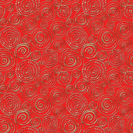 Abstract seamless pattern with 3d golden glittering acrylic paint round spiral circles on red background. Hand drawn glitter spirals endless texture. Print for textile, wallpaper, wrapping paper.