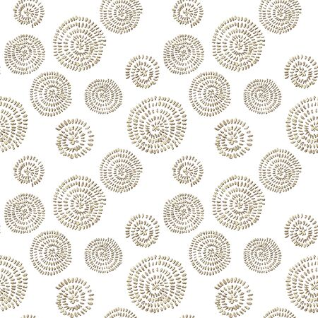 Seamless abstract pattern with 3d golden glittering acrylic paint round spiral circles on white background. Hand drawn glitter spirals endless texture. Print for textile, wallpaper, wrapping paper. 写真素材