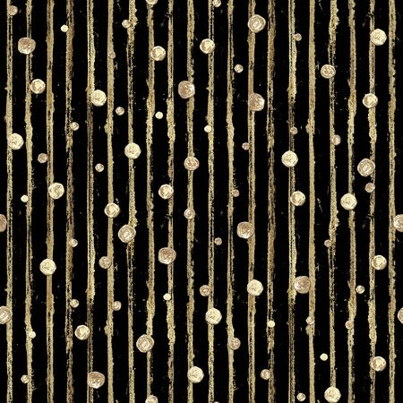 Abstract seamless pattern with 3d golden glittering acrylic paint polka dot and stripes on black background. Hand drawn glitter stripe texture. Print for textile, wallpaper, wrapping paper.