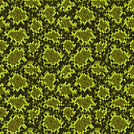 Snakeskin seamless pattern. Black and yellow green reptile repeating texture. Textured snake skin fashionable background. Fashion and stylish animal print for textile, fabric, wallpaper, wrapping.