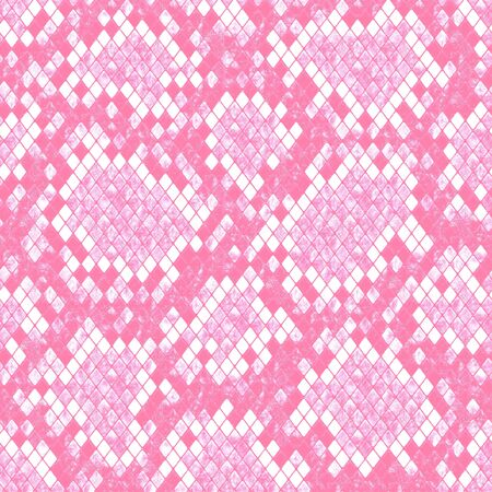 Snakeskin seamless pattern. Pink and white reptile repeating texture. Textured snake skin fashionable background. Fashion and stylish animal print for textile, fabric, wallpaper, wrapping. 写真素材