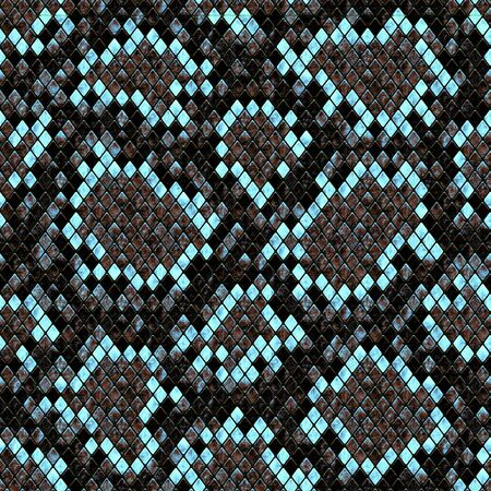 Snakeskin seamless pattern. Brown and teal turquoise reptile repeating texture. Textured snake skin fashionable background. Fashion and stylish animal print for textile, fabric, wallpaper, wrapping.
