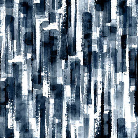 Abstract grunge cross geometric shapes contemporary art indigo blue seamless pattern background. Watercolor hand drawn color brush strokes texture. Watercolour print for textile, wallpaper, wrapping