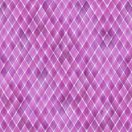 Watercolor stripe diagonal plaid seamless pattern. Pink purple stripes on white background. Watercolour hand drawn striped texture. Print for cloth design, textile, fabric, wallpaper, wrapping, tile. 写真素材