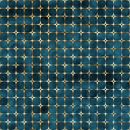 Watercolor abstract geometric dark teal stripe plaid seamless pattern with gold glitter line contour. Watercolour hand drawn striped texture background. Print for textile, wallpaper, wrapping paper. 写真素材