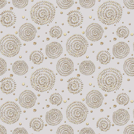 Abstract seamless pattern with 3d golden glittering acrylic paint round spiral circles and polka dot on gray color background. Hand drawn glitter texture. Print for textile, wallpaper, wrapping paper.