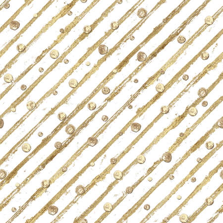 Abstract seamless pattern with 3d golden glittering acrylic paint polka dot and stripes on white background. Hand drawn glitter stripe texture. Print for textile, wallpaper, wrapping paper.