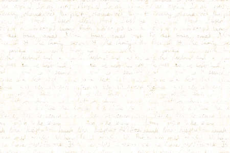 Abstract background in vintage style with old aged light beige paper with faded ink stains, hand written unreadable text. Grunge old fashioned retro style texture.