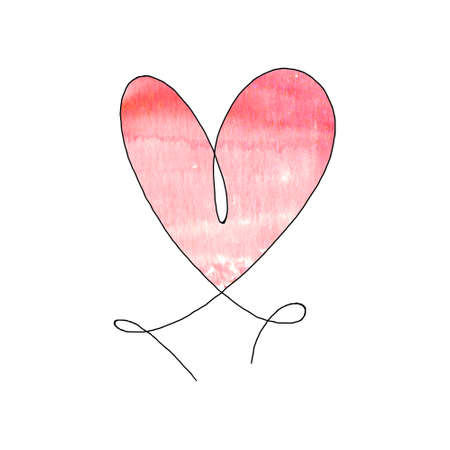 Hand drawn heart with black outline and watercolor red stain isolated on white background. Continuous line in form of heart. One line drawing. Template for t-shirt, poster, banner, greeting card.