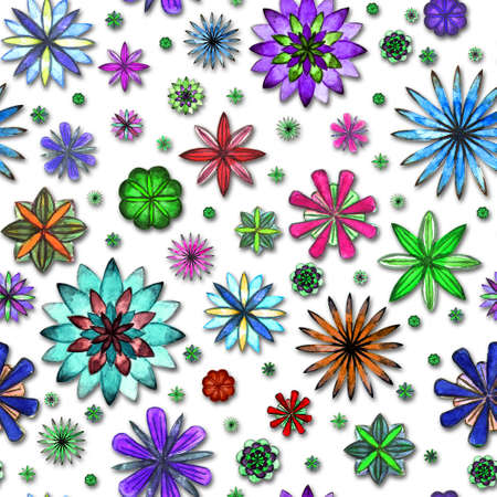 Watercolor seamless abstract flowers colorfu floral pattern on white background. Bright watercolor illustration. Print for wrapping paper, wallpaper, textile. Paper cut art craft style, 3d effect.