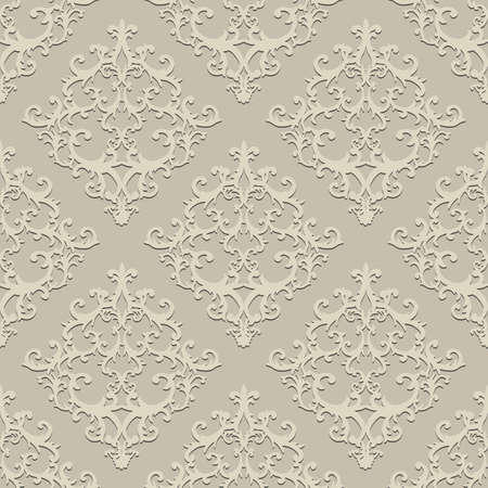 Seamless baroque style damask pattern. Hand drawn beige texture background. Contemporary retro design print for fabric, textile, wallpaper, wrapping paper, packaging. Paper cut art craft, 3d effect.