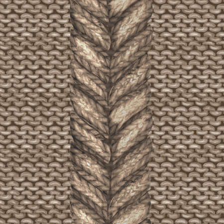 Beige brown realistic knitted seamless pattern. Watercolor hand paint knit texture background with purl loops and plait. Hand knitting. Watercolor winter cozy warm print for wrapping, wallpaper. Imagens