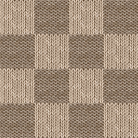 Brown beige patchwork checkered realistic knitted seamless pattern. Watercolor hand paint knit texture background with detailed loops. Hand knitting. Watercolor winter cozy print for wallpaper, textile. Imagens