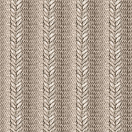 Beige gray realistic knitted seamless pattern. Watercolor hand paint knit texture background with facial loops and plait. Hand knitting. Watercolor winter cozy warm print for wrapping, wallpaper.
