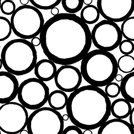 Circle black and white seamless pattern. Abstract background with black circles on white background. Hand drawn round shaped texture. Print for textile, wallpaper, wrapping paper.