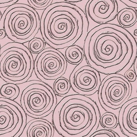 Abstract seamless pattern with 3d golden glittering round spiral circles on pastel pink background. Hand drawn glitter spirals endless texture. Print for textile, wallpaper, wrapping paper. Imagens