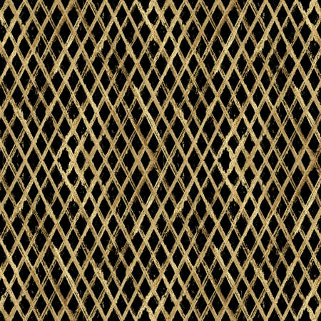 Abstract grunge seamless pattern with golden glittering acrylic paint diagonal stripes on black background. Hand drawn glitter stripe texture. Striped print for textile, wallpaper, wrapping paper. Imagens