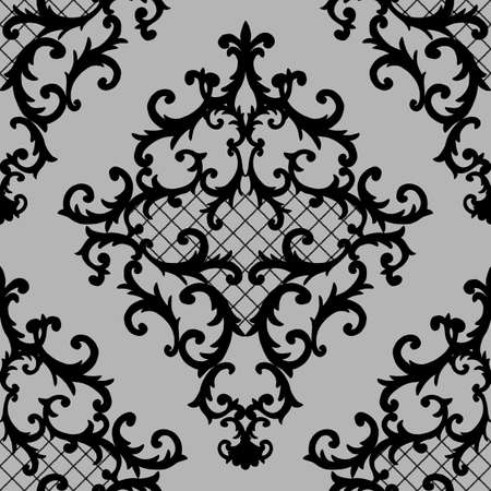 Seamless baroque style damask ornamental pattern. Hand drawn black texture on gray background. Contemporary and retro design print for fabric, textile, wallpaper, wrapping paper, packaging.