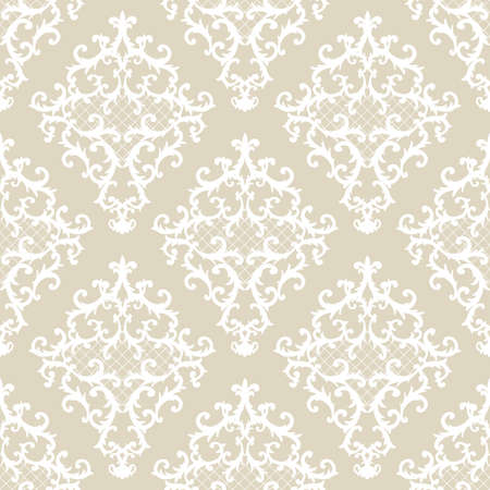 Seamless baroque style damask ornamental pattern. Hand drawn beige texture background. Contemporary and retro design print for fabric, textile, wallpaper, wrapping paper, packaging. Imagens