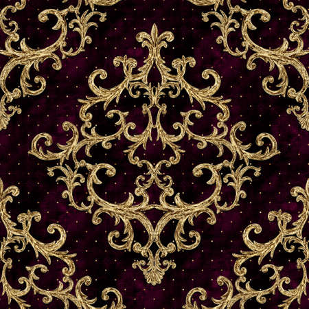 Baroque golden elements seamless pattern. Gold texture on burgundy red background with velvet effect. Watercolor vintage design print for fabric, textile, wallpaper, wrapping paper, packaging.