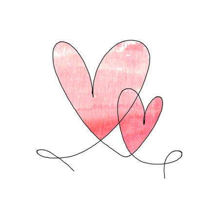 Hand drawn two hearts with black outline and watercolor red stain isolated on white background. Continuous line in form of heart. One line drawing. Template for t-shirt, poster, banner, greeting card.