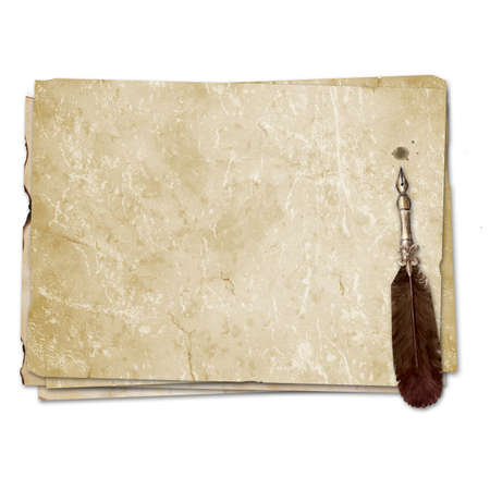Vintage style fountain feathers pen with sheets of old aged yellow brown faded paper isolated on white background. Watercolor hand drawn old-fashioned illustration. Space for text. Imagens