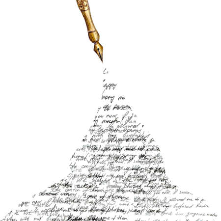 Vintage style fountain pen with spilled ink with black abstract text on white background. Watercolor hand drawn old-fashioned illustration.