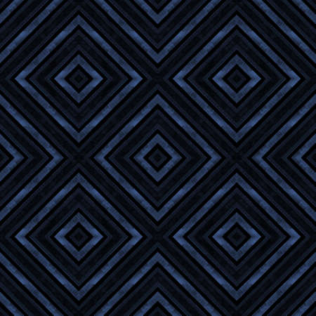 Watercolor geometric geometrical shapes seamless pattern. Dark indigo blue stripes background. Watercolor hand drawn rhombus squares texture. Print for textile, fabric, wallpaper, wrapping.