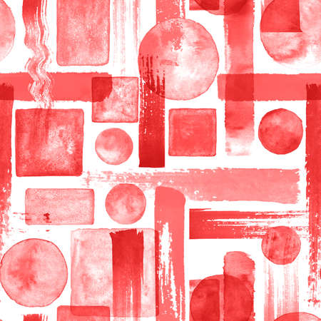Contemporary art seamless pattern background. Abstract grunge geometric shapes. Watercolor hand drawn red circles, rectangles, squares texture. Watercolor print for textile, wallpaper, wrapping. Imagens