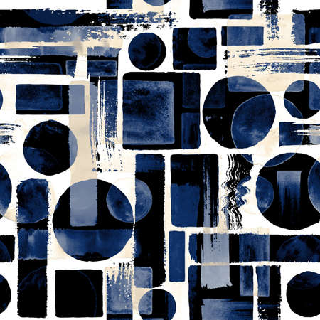 Contemporary seamless pattern background. Abstract grunge circles, rectangles, squares. Watercolor hand drawn indigo and milky white geometric shapes Watercolour print for textile, wallpaper, wrapping