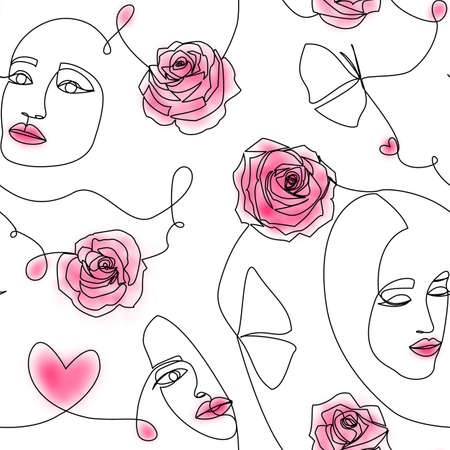 One line drawing abstract art. Modern seamless pattern with women faces, roses flowers, hearts, made by black continuous line, pink spots on white background. Minimalistic style. Love, beauty concept