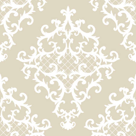 Seamless baroque style damask ornamental pattern. Hand drawn beige and white texture background. Contemporary and retro design print for fabric, textile, wallpaper, wrapping paper, packaging. Imagens