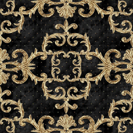 Baroque golden elements seamless pattern. Gold texture on black background with velvet effect. Watercolor vintage design print for fabric, textile, wallpaper, wrapping paper, packaging. Imagens