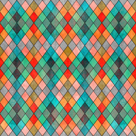 Watercolor argyle abstract geometric plaid seamless pattern with black line contour. Watercolor hand drawn bright colorful texture background. Print for textile, wallpaper, wrapping paper. Stock Photo