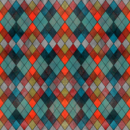 Watercolor argyle abstract geometric plaid seamless pattern with black line contour. Watercolor hand drawn bright colorful texture background. Print for textile, wallpaper, wrapping paper.