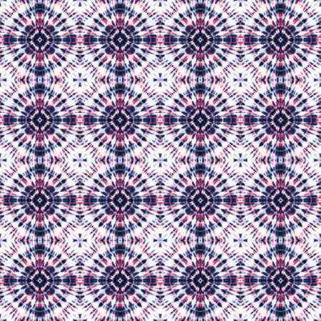 Tie dye shibori seamless pattern. Watercolor hand painted pink indigo blue navy colored circle elements on white background. Watercolor abstract texture. Print for textile, fabric, wallpaper, wrapping paper.