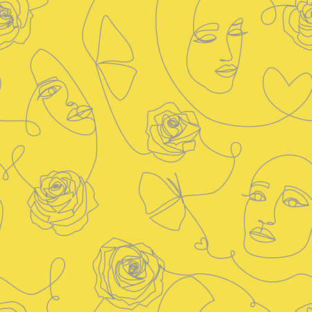 Seamless pattern with women faces, roses flowers and hearts on white
