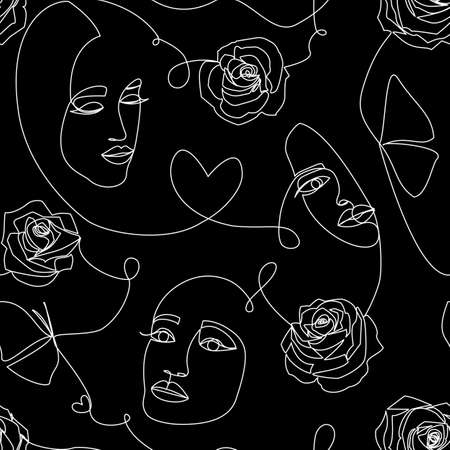 Seamless pattern with women faces and hearts on black