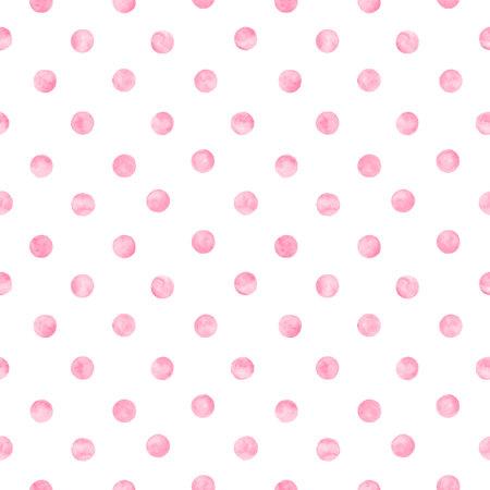Polka dot pink watercolor seamless pattern.