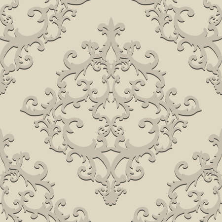 Seamless baroque style damask pattern. Hand drawn beige texture background. Contemporary retro design print for fabric, textile, wallpaper, wrapping paper, packaging. Paper cut art craft, 3d effect. Stockfoto