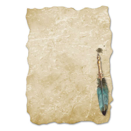 Vintage style fountain feathers pen with sheet of old aged yellow brown faded paper isolated on white background. Watercolor hand drawn old-fashioned illustration. Space for text.