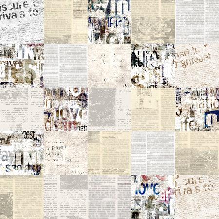 Newspaper paper grunge newsprint patchwork seamless pattern background.