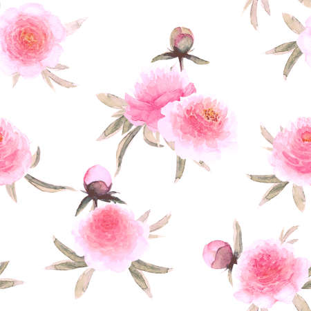 Watercolor pink peonies flowers. Beautiful floral seamless pattern. Watercolor hand drawn spring botanical illustration on white background. Print for textile, fabric, wallpaper, wrapping paper.