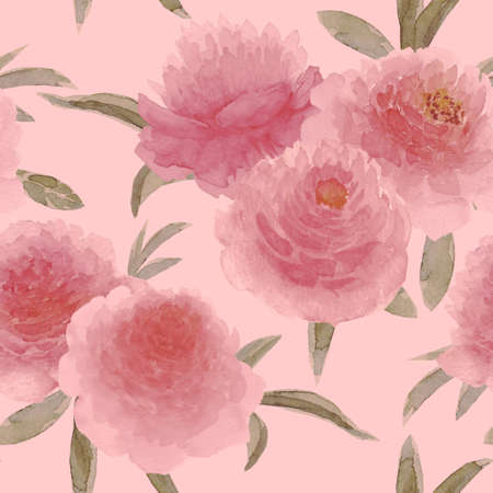 Watercolor pink peonies flowers. Beautiful floral seamless pattern. Watercolor hand drawn spring botanical illustration on pastel pink background. Print for textile, fabric, wallpaper, wrapping paper 写真素材