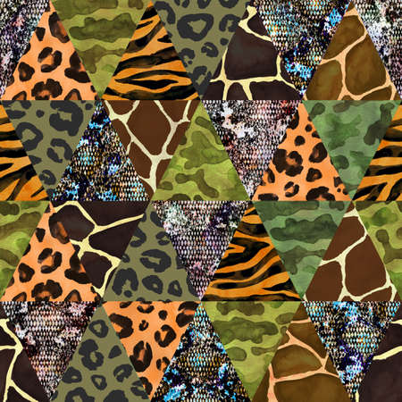 Trendy imitation sewn triangular pieces of fabric in patchwork style. Watercolor hand drawn collage seamless pattern. Safary texture with animals print of giraffe, leopard, zebra, snake, camouflage,